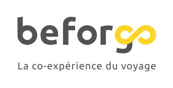 Logo blanc horizontal beforgo la co-experience du voyage