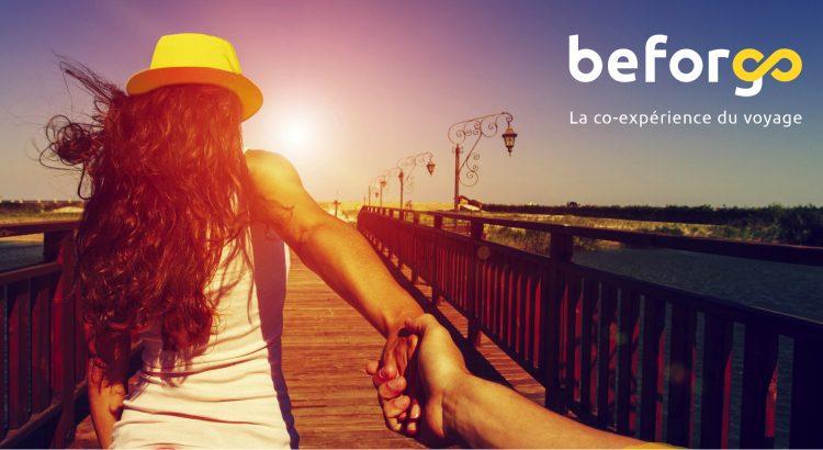 Affiche beforgo avec logo couple qui se tient la main sur une jetée