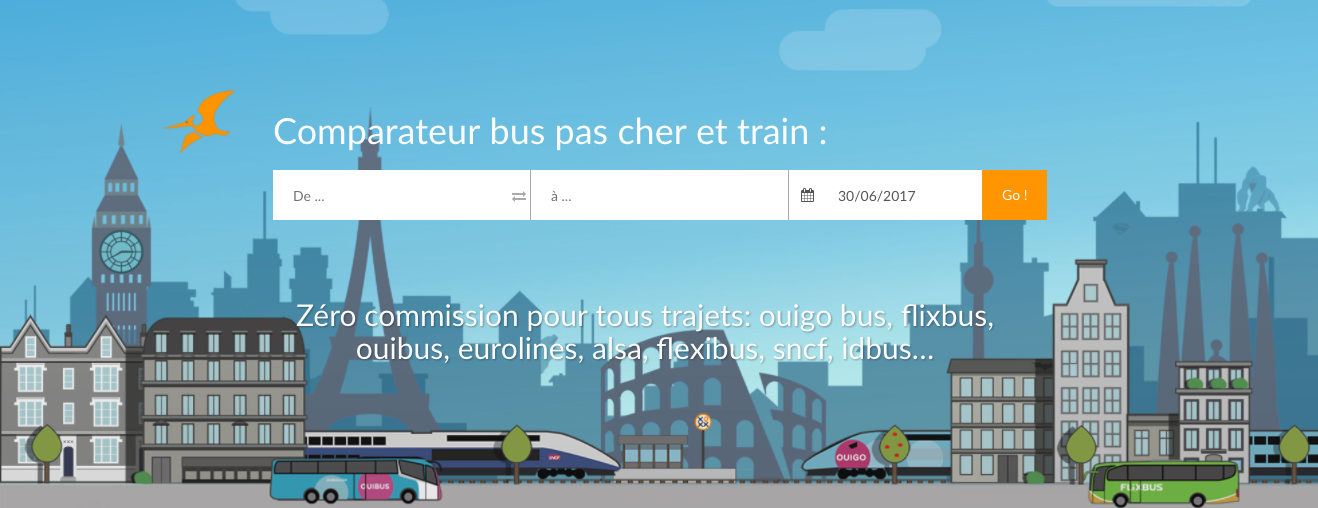 screenshot page accueil tictactrip.eu compareteur de bus